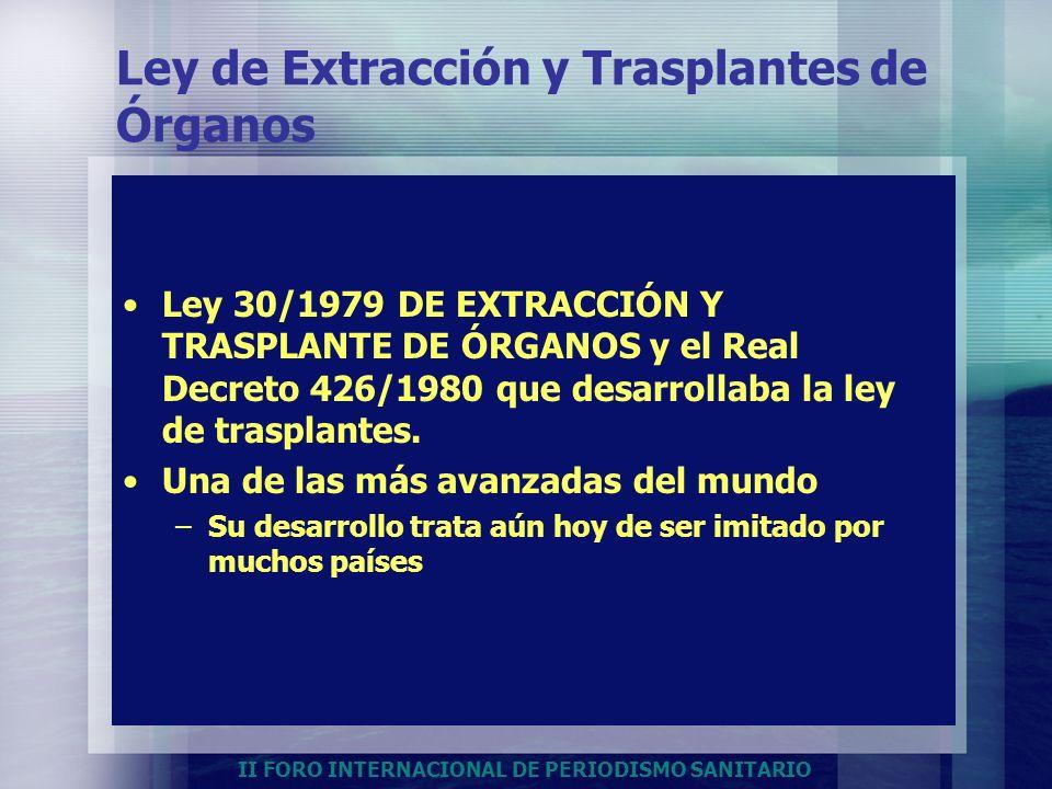 II FORO INTERNACIONAL DE PERIODISMO SANITARIO Ley de Extracción y Trasplantes de Órganos Ley 30/1979 DE EXTRACCIÓN Y TRASPLANTE DE ÓRGANOS y el Real D