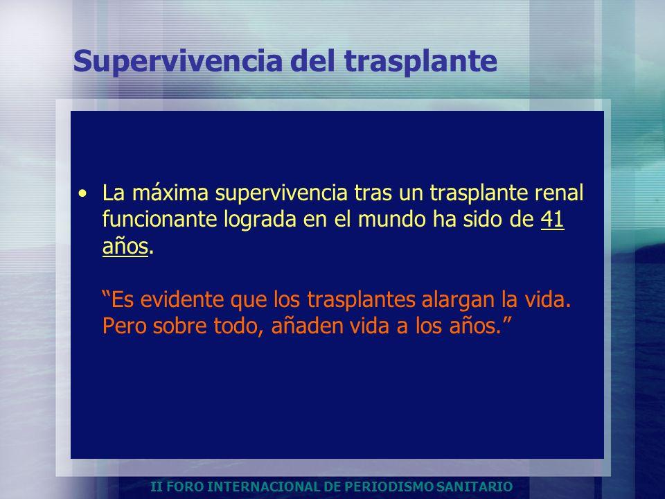 II FORO INTERNACIONAL DE PERIODISMO SANITARIO Supervivencia del trasplante La máxima supervivencia tras un trasplante renal funcionante lograda en el