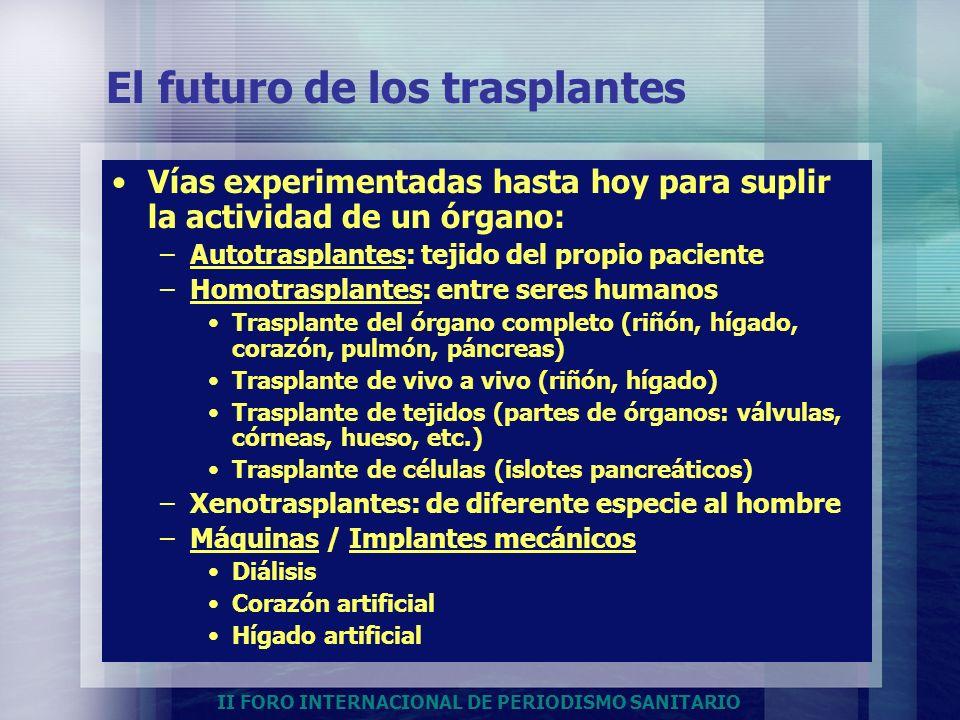 II FORO INTERNACIONAL DE PERIODISMO SANITARIO El futuro de los trasplantes Vías experimentadas hasta hoy para suplir la actividad de un órgano: –Autot