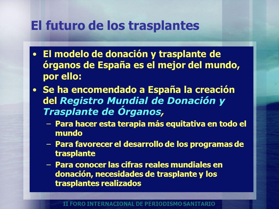 II FORO INTERNACIONAL DE PERIODISMO SANITARIO El futuro de los trasplantes El modelo de donación y trasplante de órganos de España es el mejor del mun