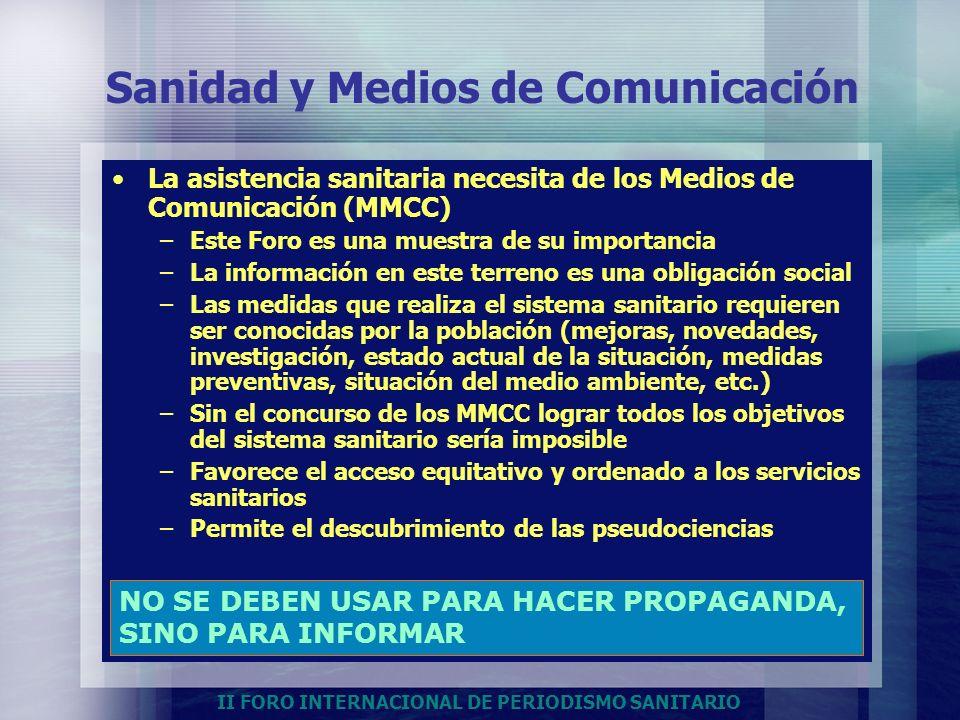 II FORO INTERNACIONAL DE PERIODISMO SANITARIO Sanidad y Medios de Comunicación La asistencia sanitaria necesita de los Medios de Comunicación (MMCC) –