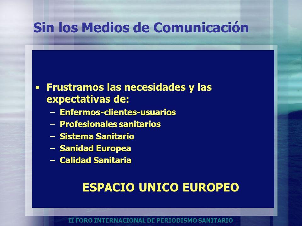 II FORO INTERNACIONAL DE PERIODISMO SANITARIO Sin los Medios de Comunicación Frustramos las necesidades y las expectativas de: –Enfermos-clientes-usua