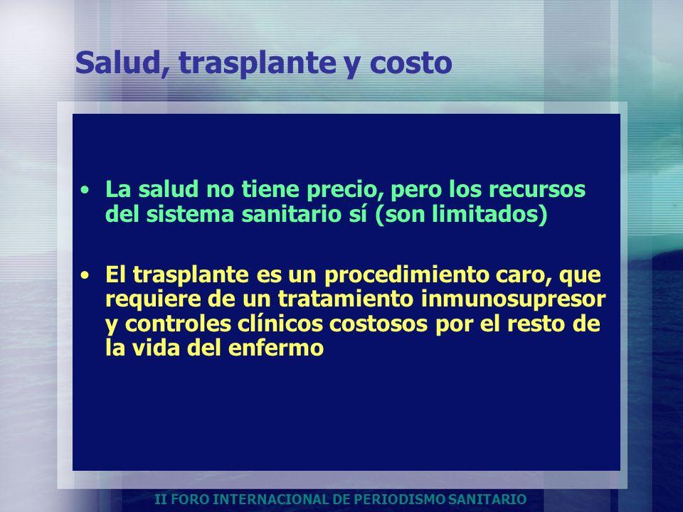 II FORO INTERNACIONAL DE PERIODISMO SANITARIO Salud, trasplante y costo La salud no tiene precio, pero los recursos del sistema sanitario sí (son limi