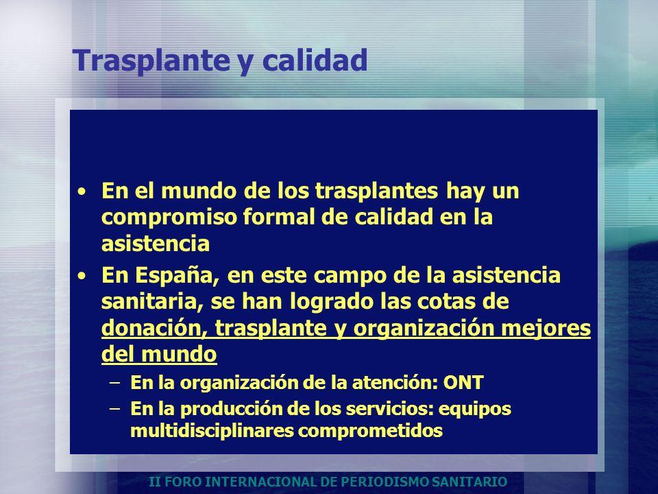 II FORO INTERNACIONAL DE PERIODISMO SANITARIO Trasplante y calidad En el mundo de los trasplantes hay un compromiso formal de calidad en la asistencia