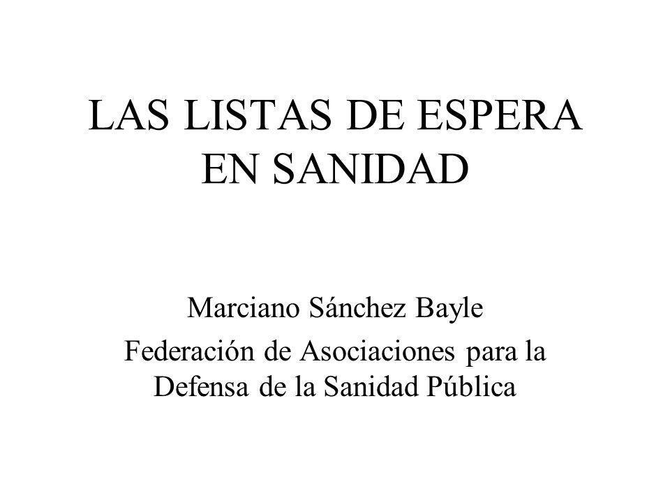 LAS LISTAS DE ESPERA EN SANIDAD Marciano Sánchez Bayle Federación de Asociaciones para la Defensa de la Sanidad Pública