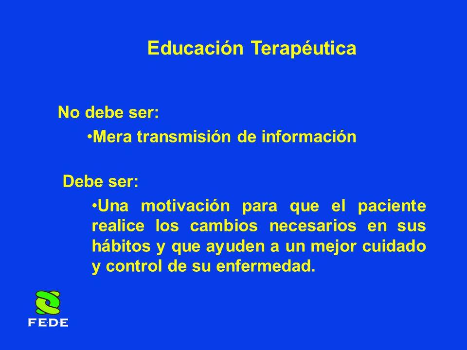 Educación Terapéutica No debe ser: Mera transmisión de información Debe ser: Una motivación para que el paciente realice los cambios necesarios en sus