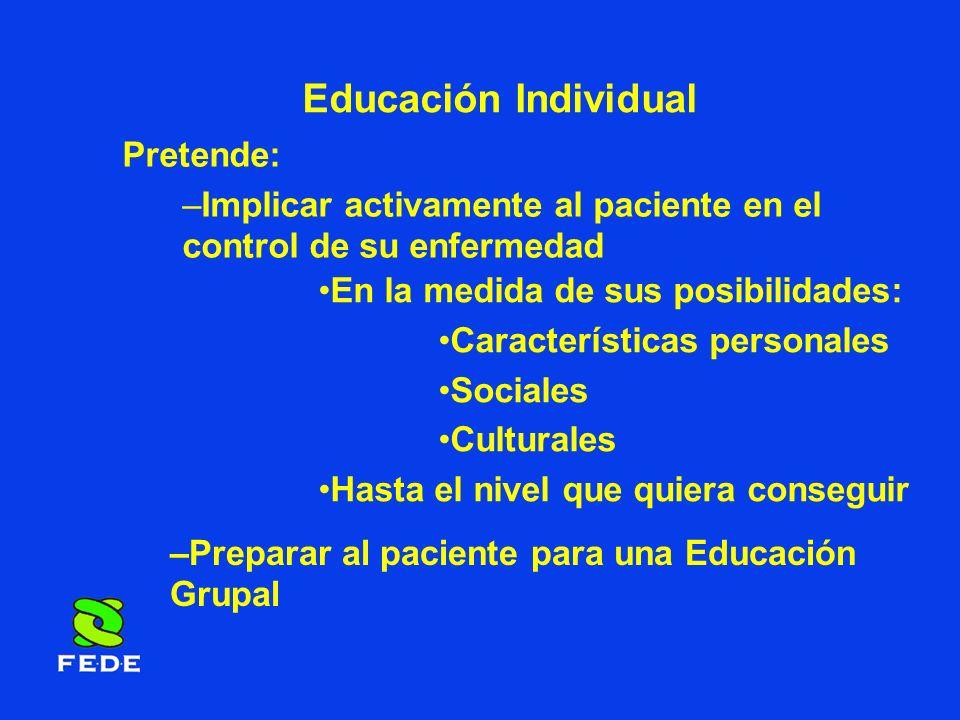Educación Grupal Pretende: Afianzar Ampliar Conocimientos adquiridos en la Educación Individual Relacionarse Intercambiar opiniones Con otros pacientes