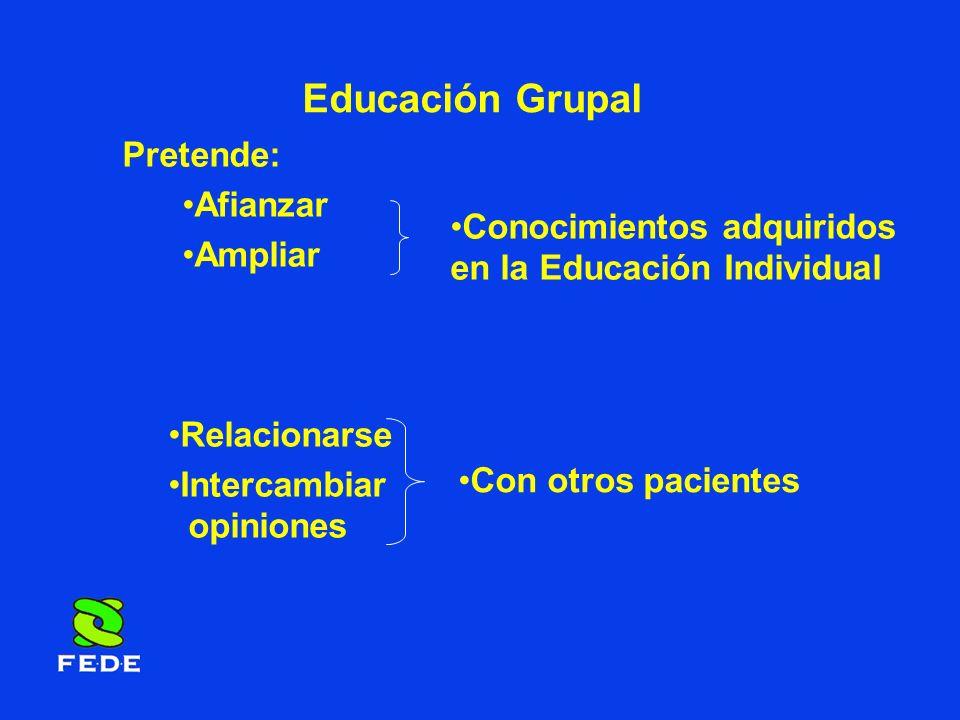 Educación Grupal Pretende: Afianzar Ampliar Conocimientos adquiridos en la Educación Individual Relacionarse Intercambiar opiniones Con otros paciente