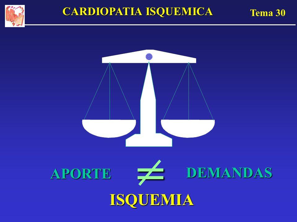 Tema 30 CARDIOPATIA ISQUEMICA APORTE DEMANDAS = ISQUEMIA
