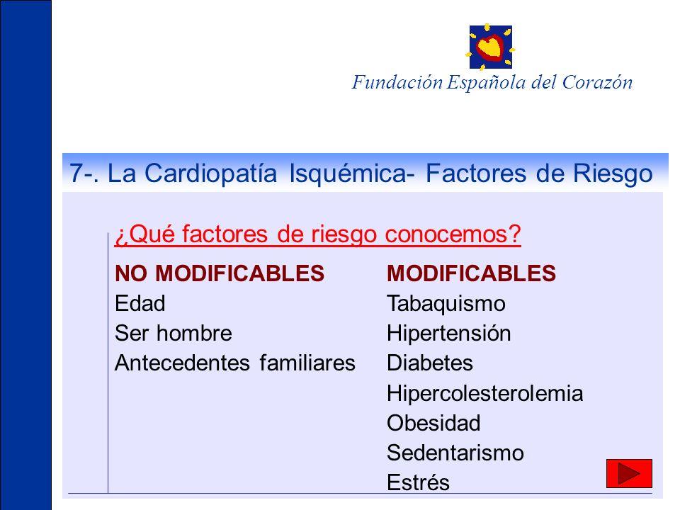 Fundación Española del Corazón ¿Qué factores de riesgo conocemos? NO MODIFICABLES MODIFICABLES EdadTabaquismo Ser hombreHipertensión Antecedentes fami