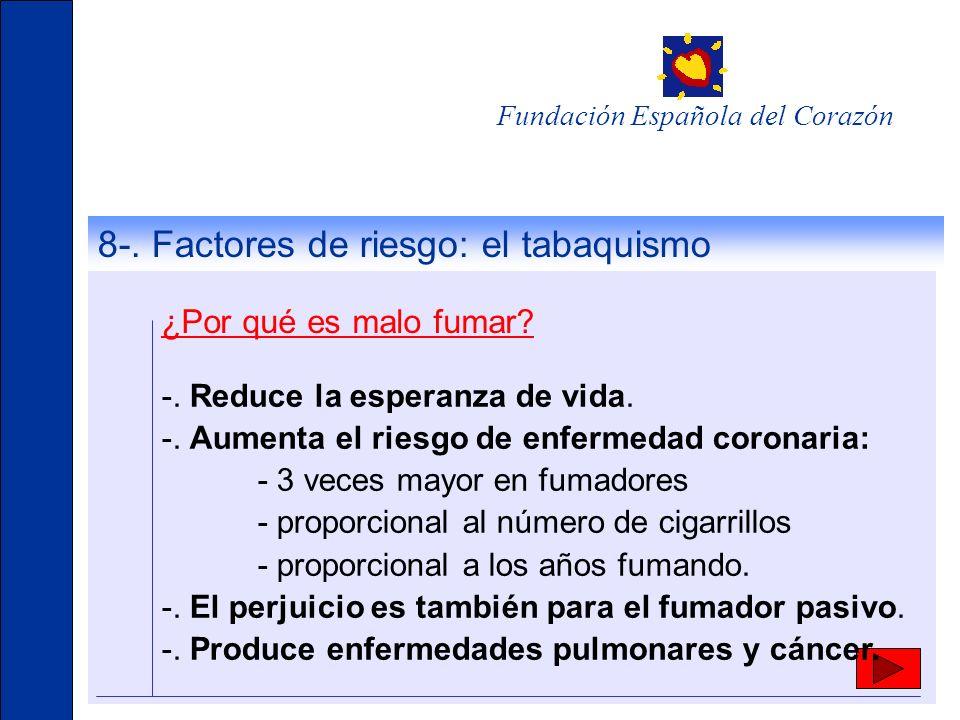 Fundación Española del Corazón -. Reduce la esperanza de vida. -. Aumenta el riesgo de enfermedad coronaria: - 3 veces mayor en fumadores - proporcion