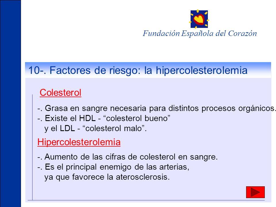 10-. Factores de riesgo: la hipercolesterolemia Colesterol -. Grasa en sangre necesaria para distintos procesos orgánicos. -. Existe el HDL - colester