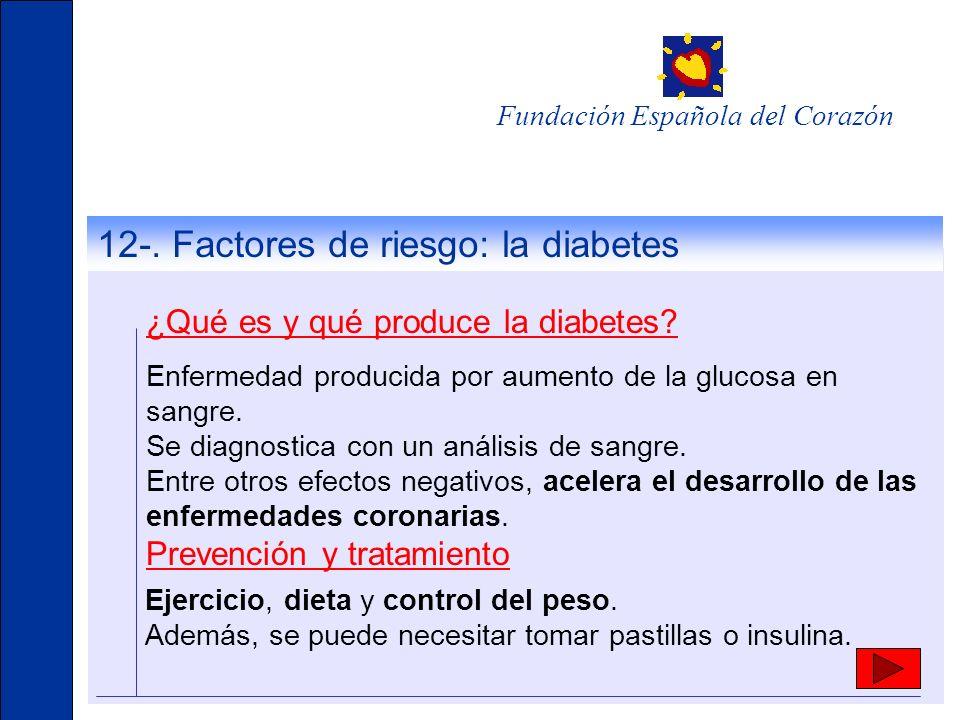 12-. Factores de riesgo: la diabetes ¿Qué es y qué produce la diabetes? Enfermedad producida por aumento de la glucosa en sangre. Se diagnostica con u