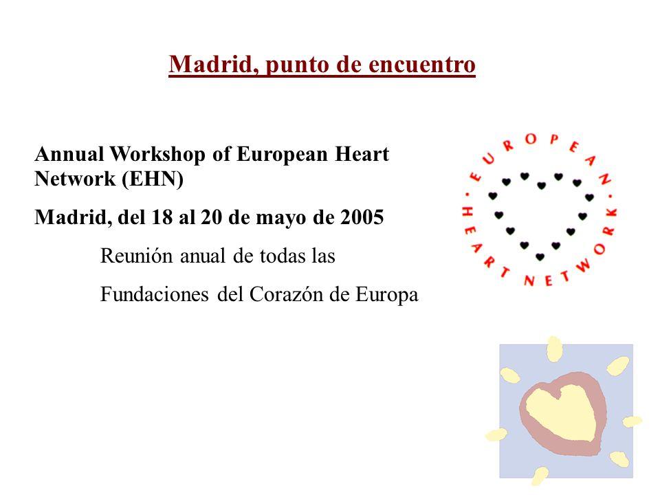 Madrid, punto de encuentro Annual Workshop of European Heart Network (EHN) Madrid, del 18 al 20 de mayo de 2005 Reunión anual de todas las Fundaciones