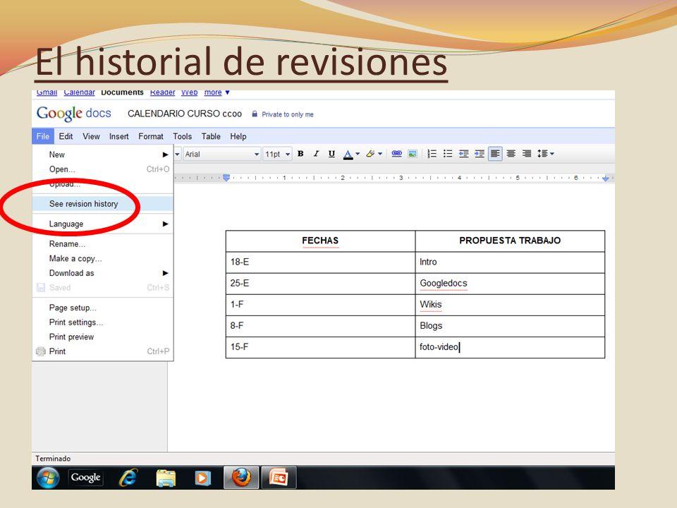 El historial de revisiones