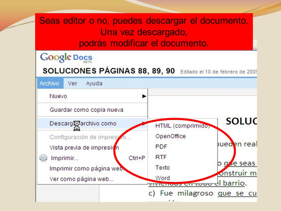 Seas editor o no, puedes descargar el documento. Una vez descargado, podrás modificar el documento.