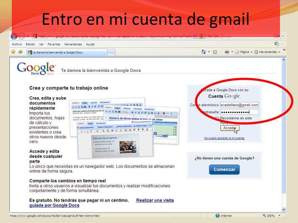 Entro en mi cuenta de gmail