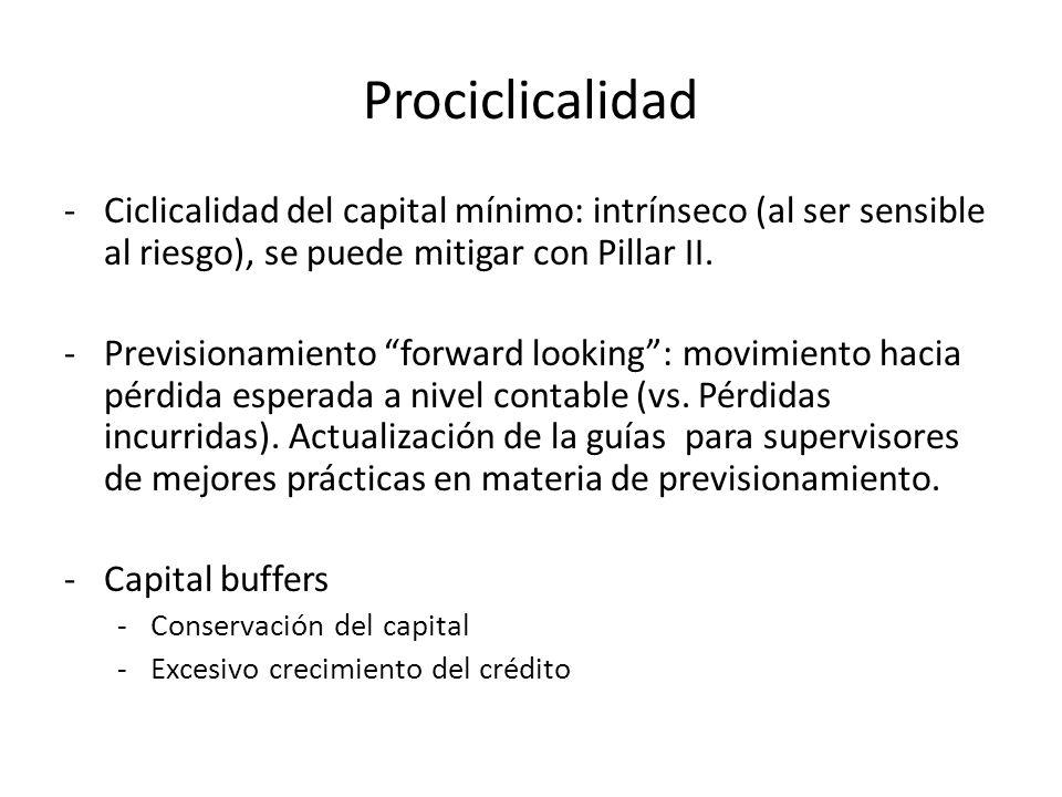 Prociclicalidad -Ciclicalidad del capital mínimo: intrínseco (al ser sensible al riesgo), se puede mitigar con Pillar II. -Previsionamiento forward lo