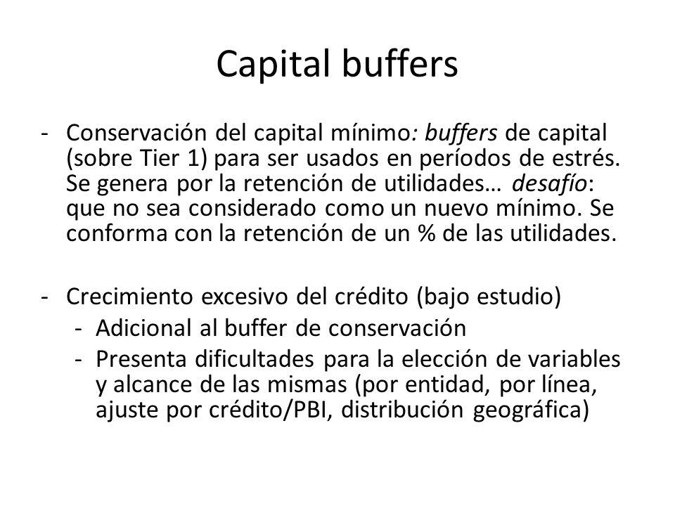 Capital buffers -Conservación del capital mínimo: buffers de capital (sobre Tier 1) para ser usados en períodos de estrés. Se genera por la retención