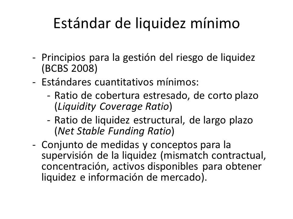 Estándar de liquidez mínimo -Principios para la gestión del riesgo de liquidez (BCBS 2008) -Estándares cuantitativos mínimos: -Ratio de cobertura estr