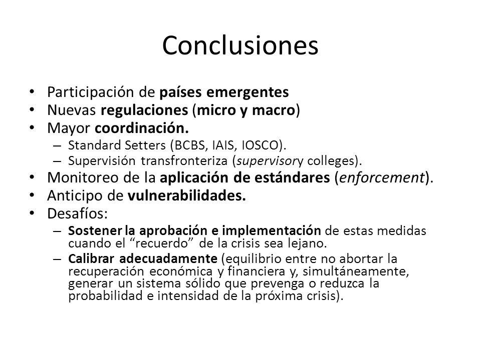 Conclusiones Participación de países emergentes Nuevas regulaciones (micro y macro) Mayor coordinación. – Standard Setters (BCBS, IAIS, IOSCO). – Supe
