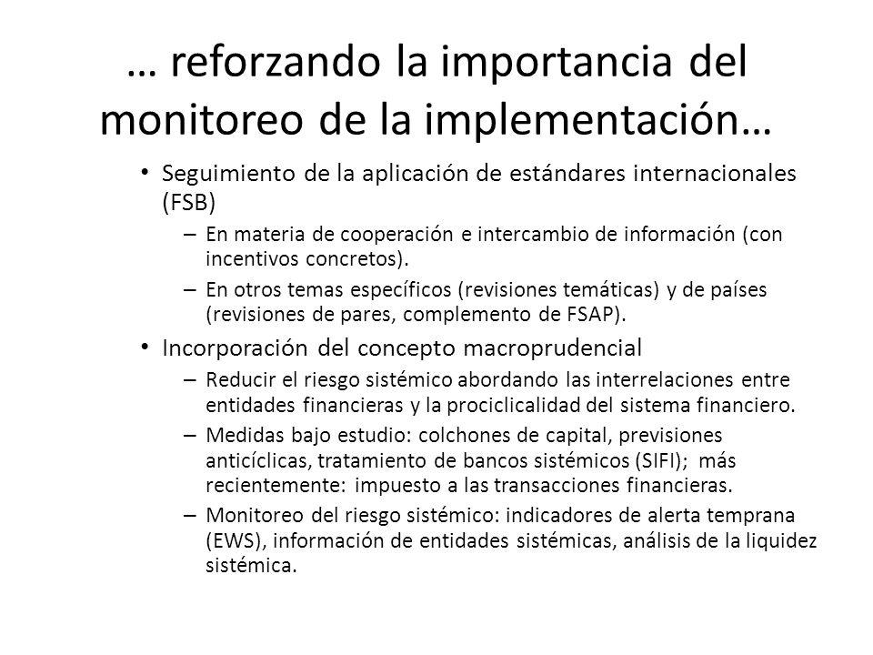 … reforzando la importancia del monitoreo de la implementación… Seguimiento de la aplicación de estándares internacionales (FSB) – En materia de coope