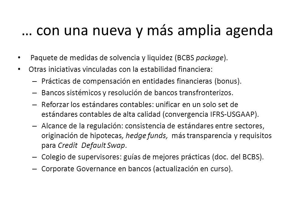 … con una nueva y más amplia agenda Paquete de medidas de solvencia y liquidez (BCBS package). Otras iniciativas vinculadas con la estabilidad financi