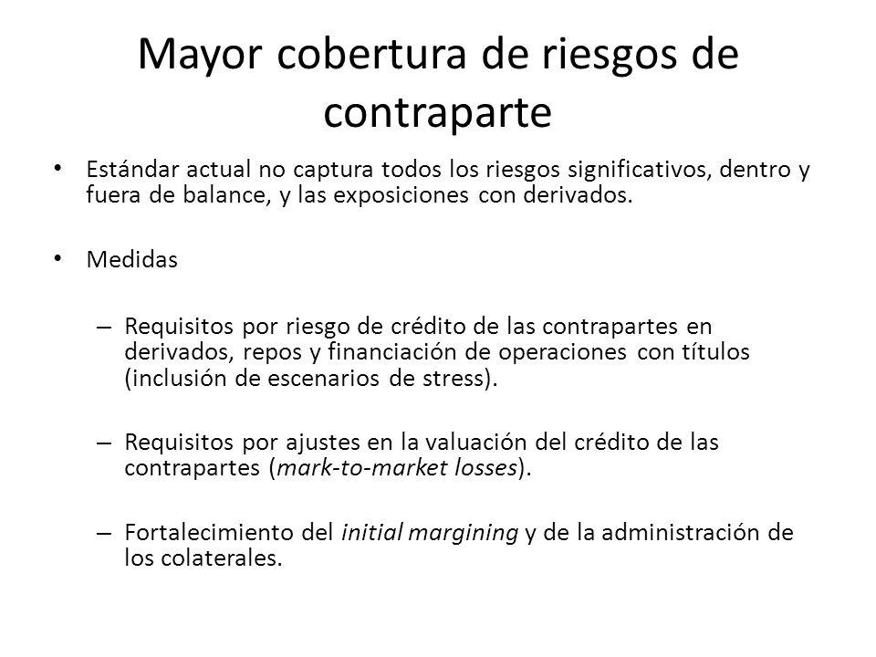 Mayor cobertura de riesgos de contraparte Estándar actual no captura todos los riesgos significativos, dentro y fuera de balance, y las exposiciones c