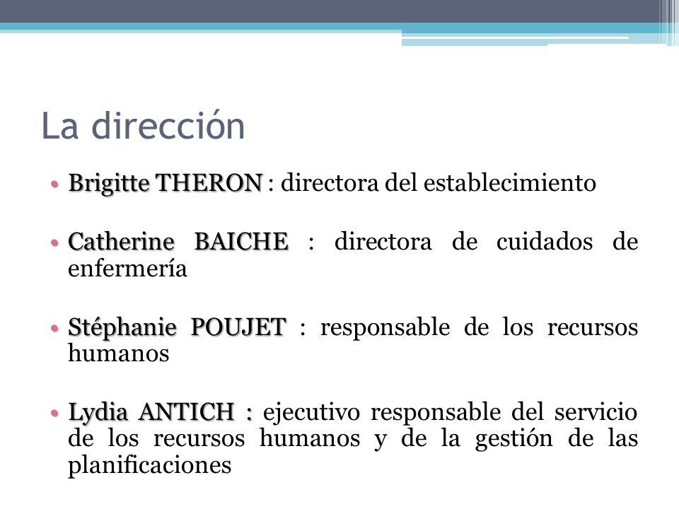 La dirección Brigitte THERONBrigitte THERON : directora del establecimiento Catherine BAICHECatherine BAICHE : directora de cuidados de enfermería Sté