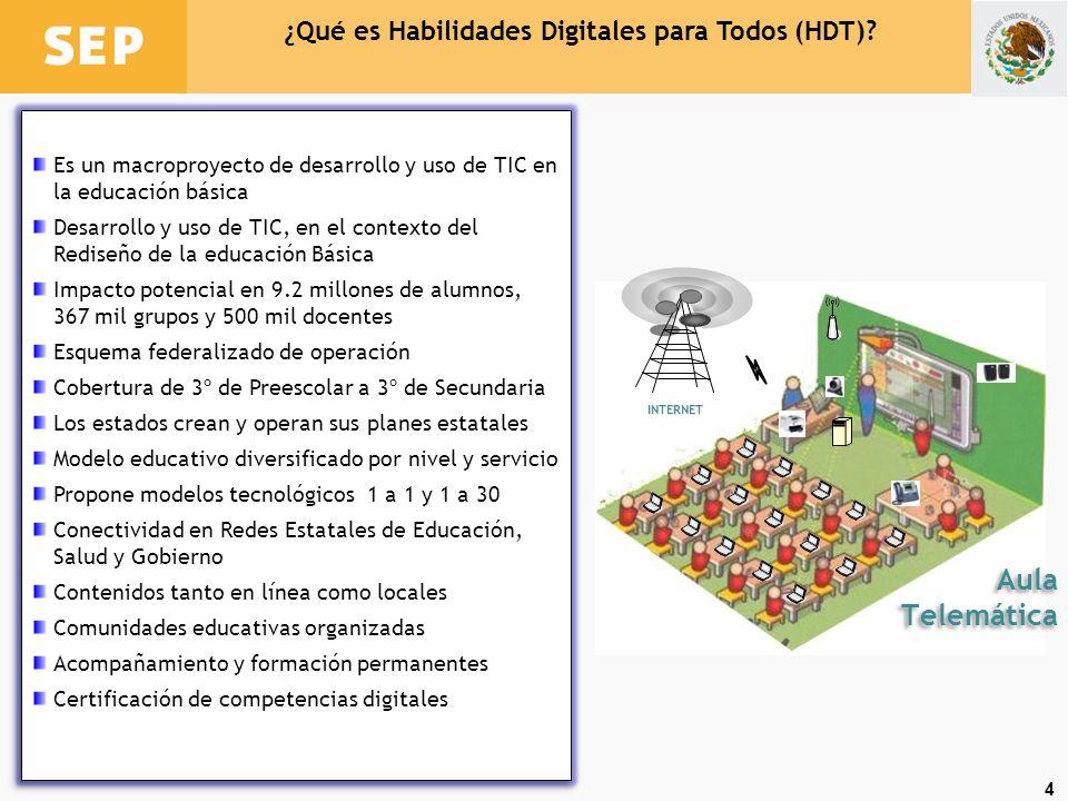 4 ¿Qué es Habilidades Digitales para Todos (HDT)? Es un macroproyecto de desarrollo y uso de TIC en la educación básica Desarrollo y uso de TIC, en el