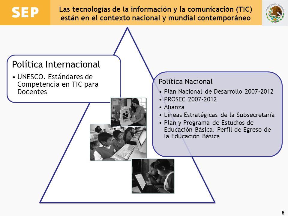 5 Política Internacional UNESCO. Estándares de Competencia en TIC para Docentes Política Nacional Plan Nacional de Desarrollo 2007- 2012 PROSEC 2007-2