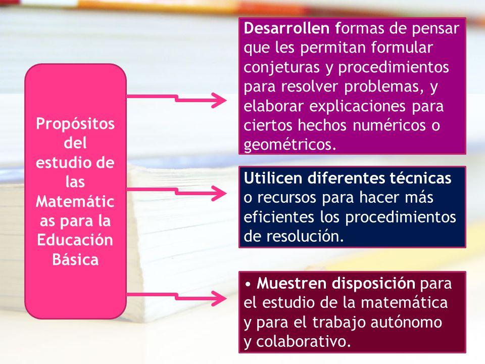 Propósitos del estudio de las Matemátic as para la Educación Básica Desarrollen formas de pensar que les permitan formular conjeturas y procedimientos