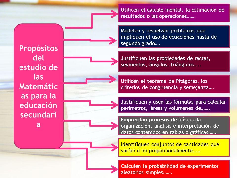 Propósitos del estudio de las Matemátic as para la educación secundari a Utilicen el cálculo mental, la estimación de resultados o las operaciones…… J
