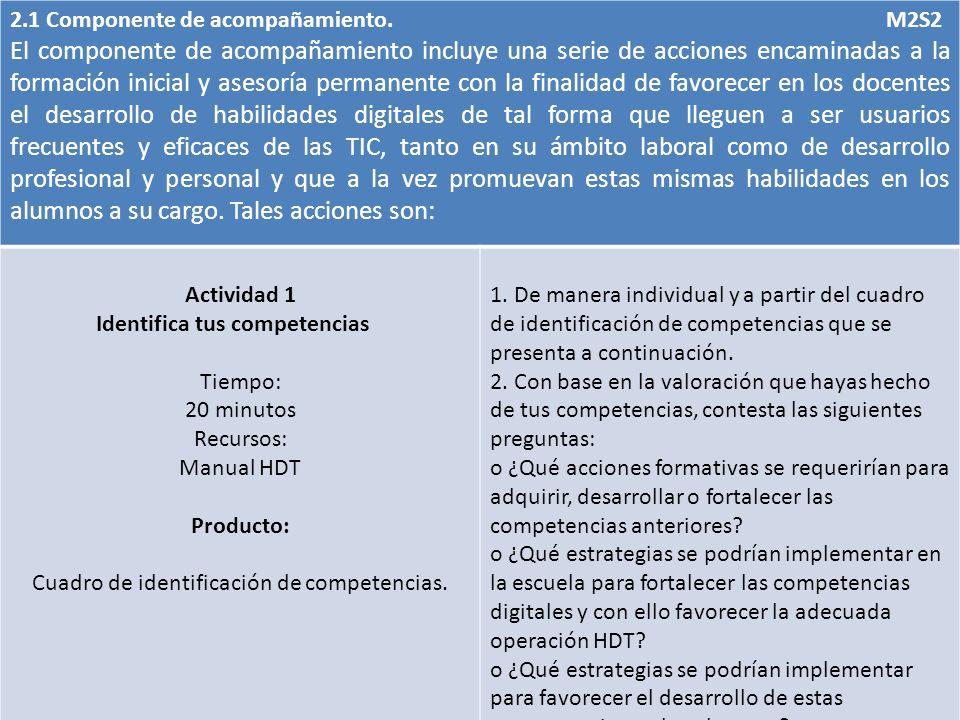 2.1 Componente de acompañamiento. M2S2 El componente de acompañamiento incluye una serie de acciones encaminadas a la formación inicial y asesoría per