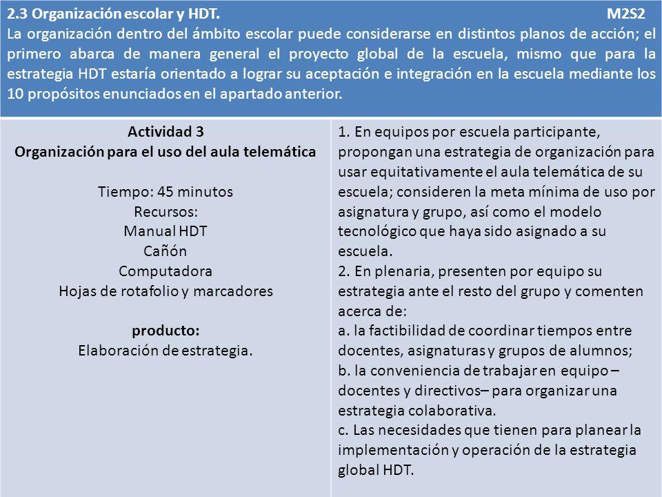 2.3 Organización escolar y HDT. M2S2 La organización dentro del ámbito escolar puede considerarse en distintos planos de acción; el primero abarca de