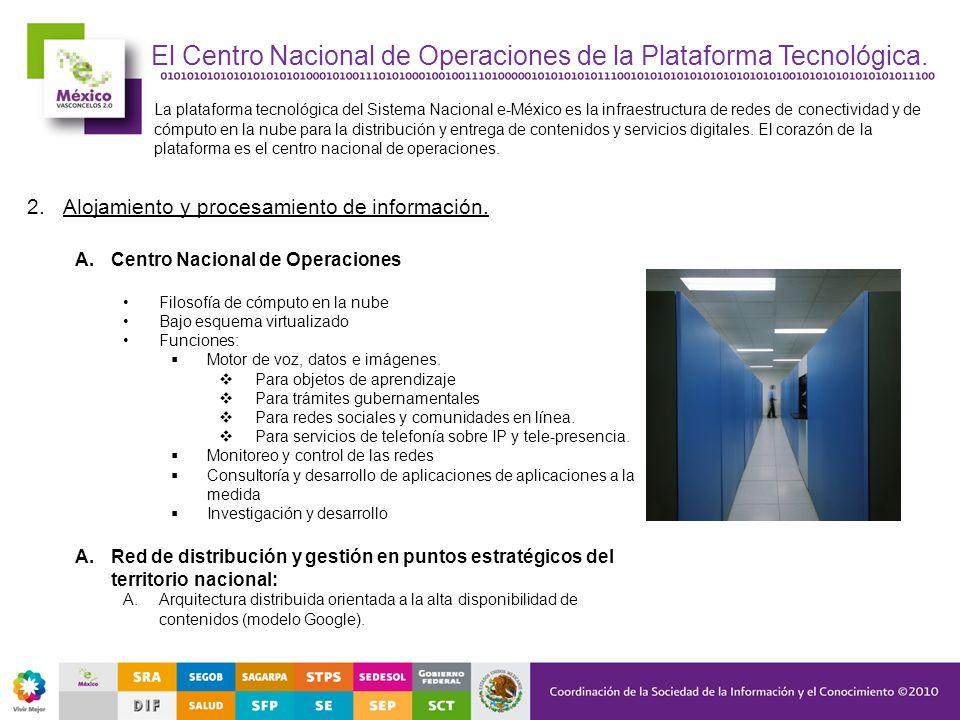 El Centro Nacional de Operaciones de la Plataforma Tecnológica. La plataforma tecnológica del Sistema Nacional e-México es la infraestructura de redes