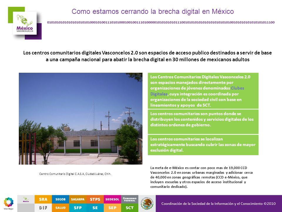Los centros comunitarios digitales Vasconcelos 2.0 son espacios de acceso publico destinados a servir de base a una campaña nacional para abatir la br