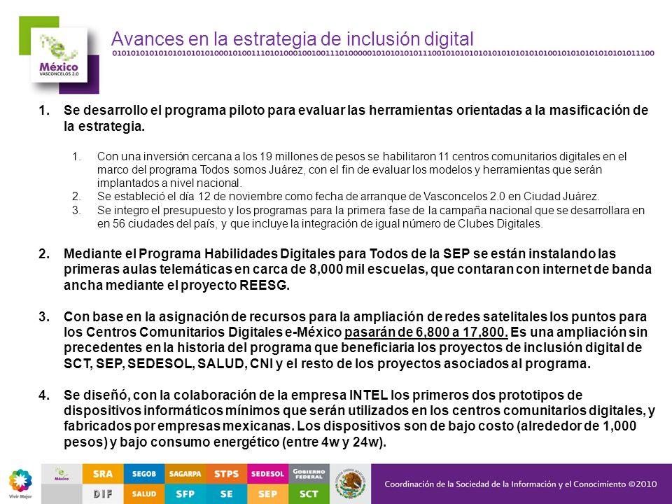 Avances en la estrategia de inclusión digital 1.Se desarrollo el programa piloto para evaluar las herramientas orientadas a la masificación de la estr