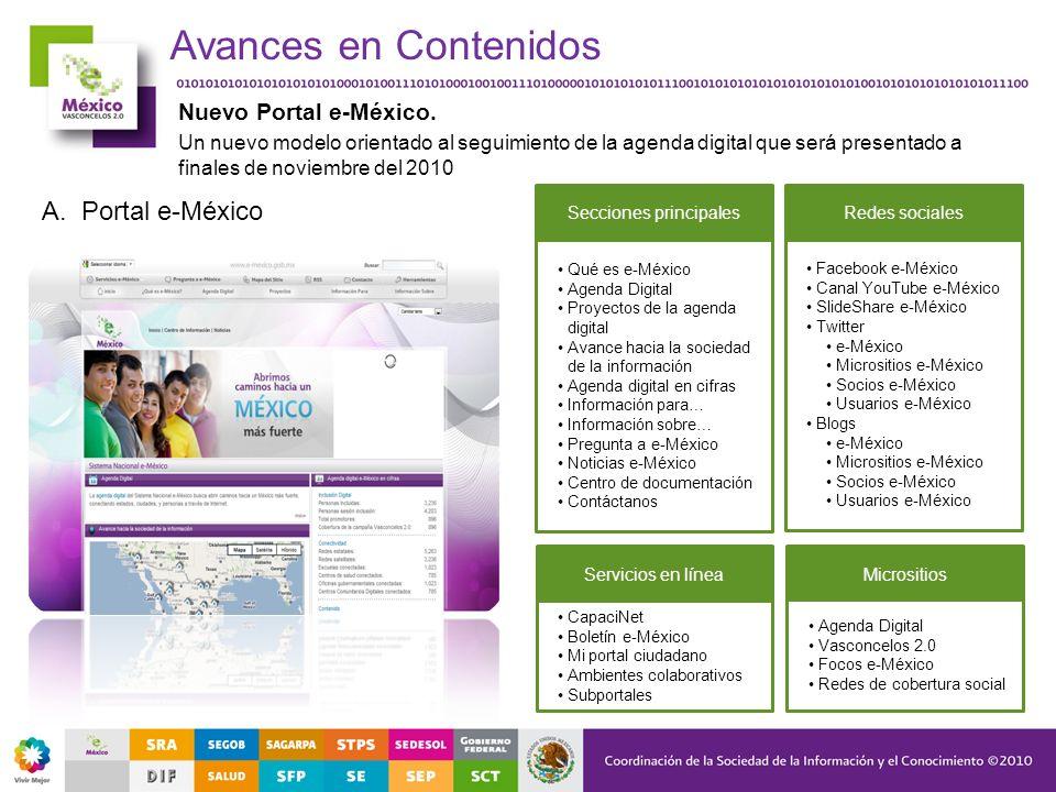 Avances en Contenidos Nuevo Portal e-México. Un nuevo modelo orientado al seguimiento de la agenda digital que será presentado a finales de noviembre