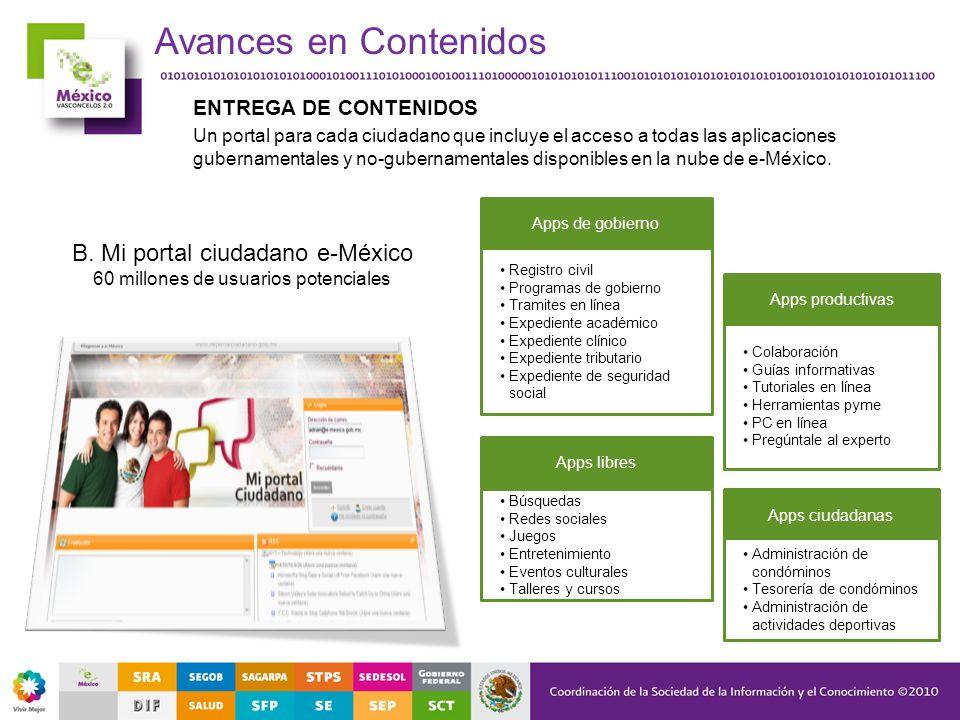 ENTREGA DE CONTENIDOS Un portal para cada ciudadano que incluye el acceso a todas las aplicaciones gubernamentales y no-gubernamentales disponibles en