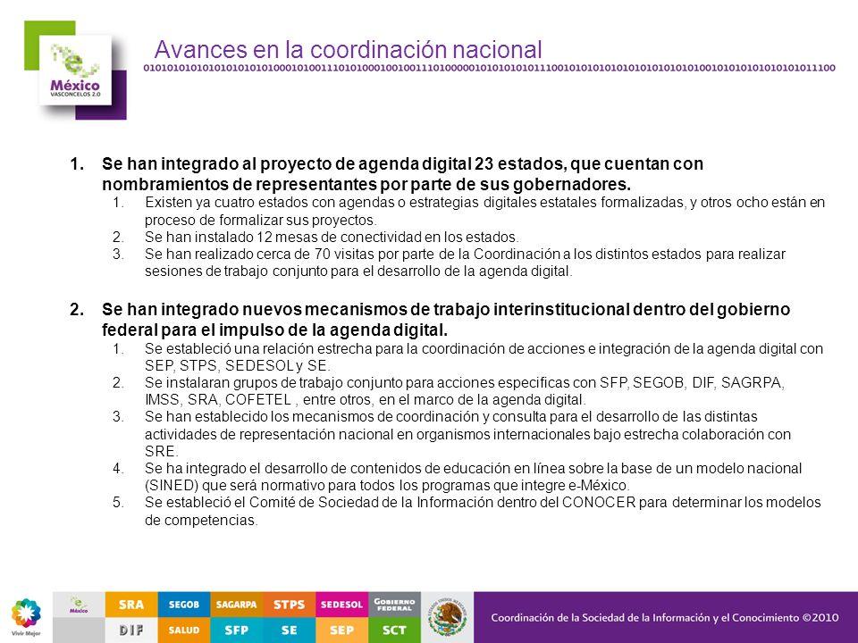 Avances en la coordinación nacional 1.Se han integrado al proyecto de agenda digital 23 estados, que cuentan con nombramientos de representantes por p