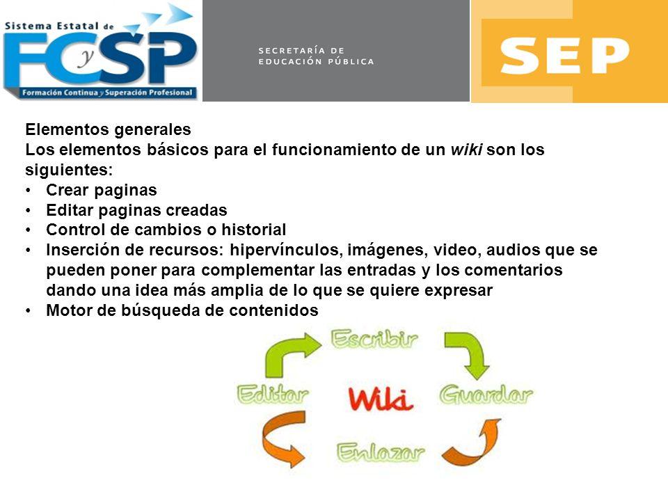 Elementos generales Los elementos básicos para el funcionamiento de un wiki son los siguientes: Crear paginas Editar paginas creadas Control de cambio