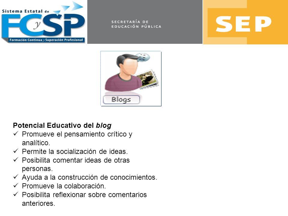 Potencial Educativo del blog Promueve el pensamiento crítico y analítico. Permite la socialización de ideas. Posibilita comentar ideas de otras person