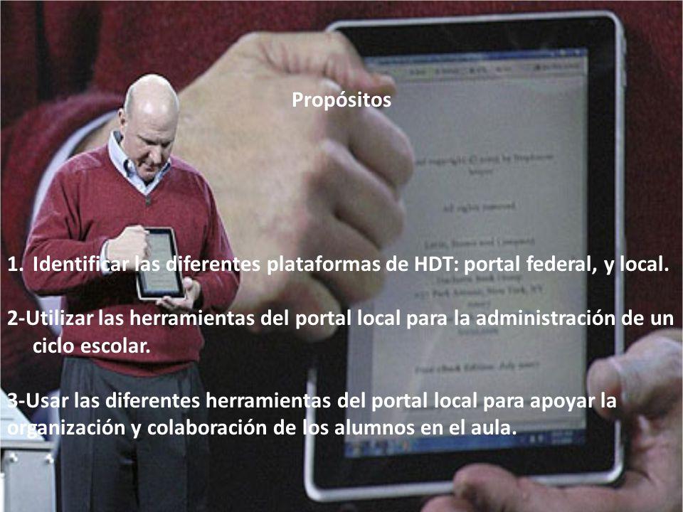 Propósitos 1.Identificar las diferentes plataformas de HDT: portal federal, y local. 2-Utilizar las herramientas del portal local para la administraci