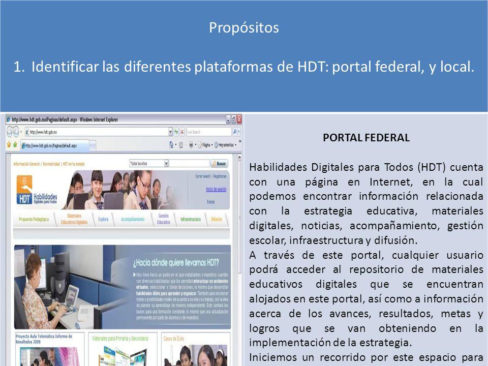 Propósitos 1.Identificar las diferentes plataformas de HDT: portal federal, y local. PORTAL FEDERAL Habilidades Digitales para Todos (HDT) cuenta con
