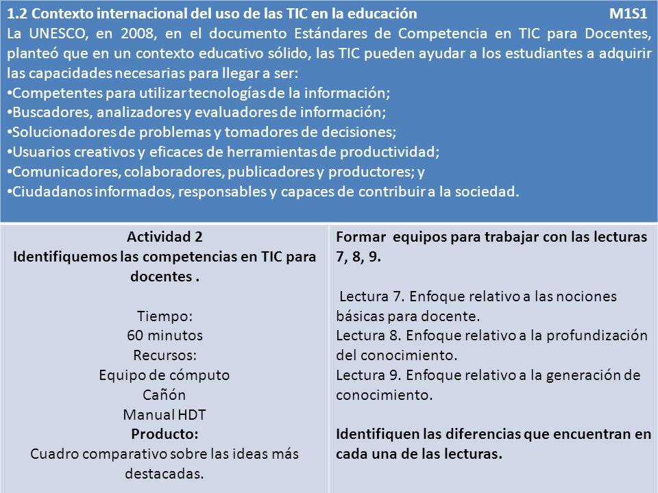 1.2 Contexto internacional del uso de las TIC en la educación M1S1 La UNESCO, en 2008, en el documento Estándares de Competencia en TIC para Docentes,