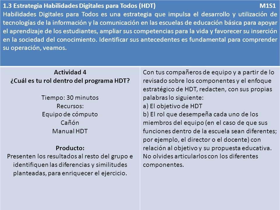 1.3 Estrategia Habilidades Digitales para Todos (HDT) M1S1 Habilidades Digitales para Todos es una estrategia que impulsa el desarrollo y utilización