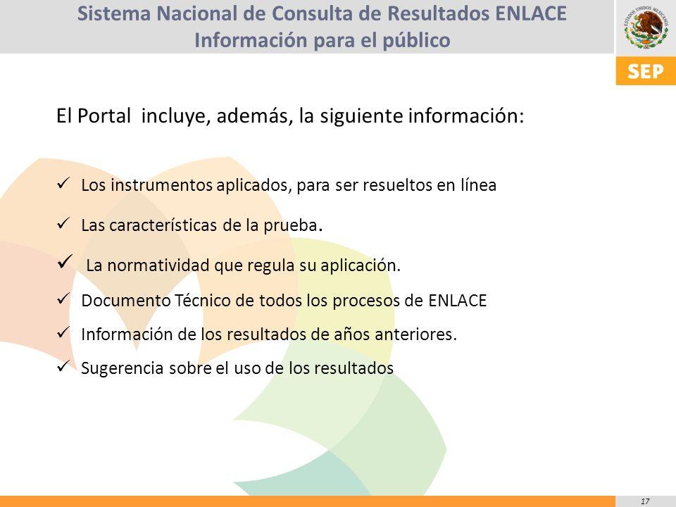 17 El Portal incluye, además, la siguiente información: Los instrumentos aplicados, para ser resueltos en línea Las características de la prueba.