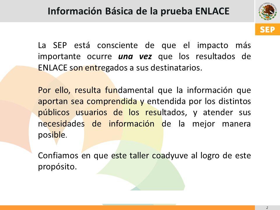 2 La SEP está consciente de que el impacto más importante ocurre una vez que los resultados de ENLACE son entregados a sus destinatarios.