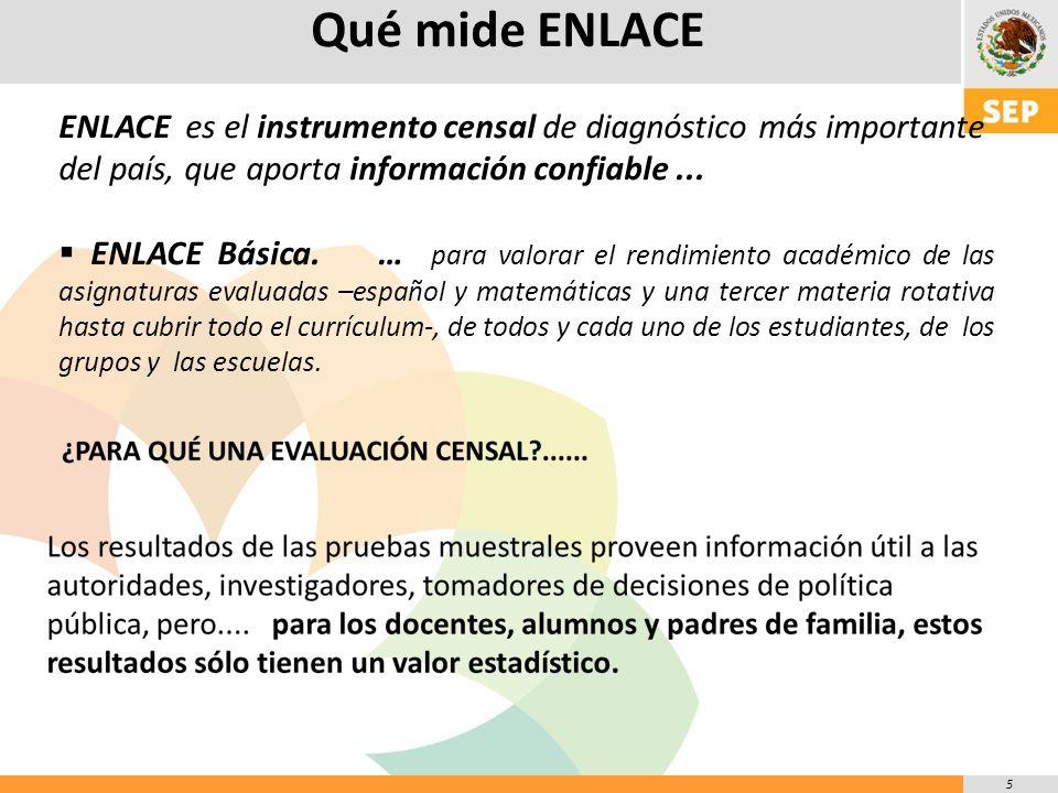 5 Qué mide ENLACE ENLACE es el instrumento censal de diagnóstico más importante del país, que aporta información confiable...